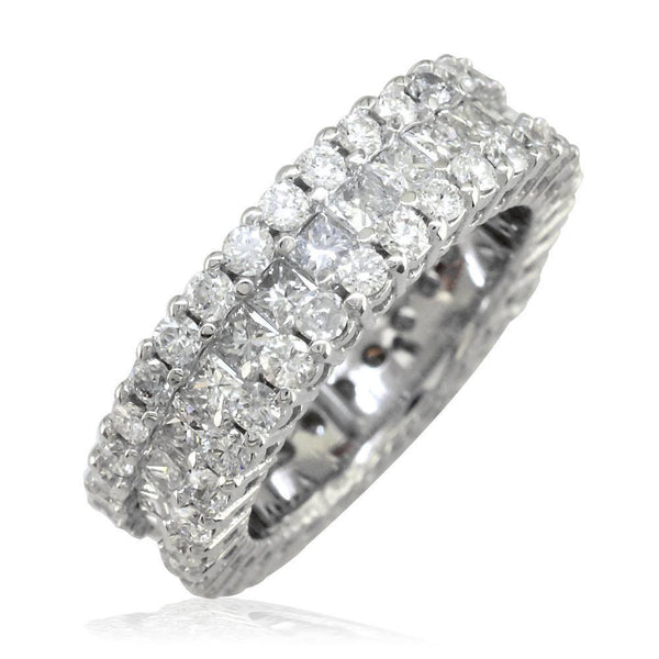 3 Row Round and Princess Cut Diamond Eternity Ring, 3.40CT in 14K White Gold