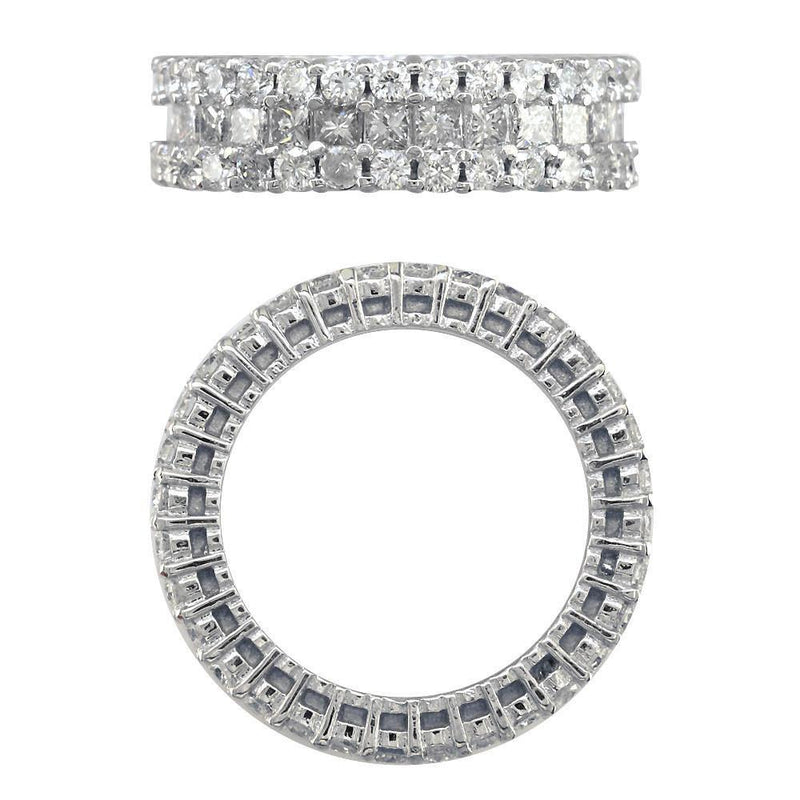 3 Row Round and Princess Cut Diamond Eternity Ring, 3.40CT in 14K Yellow Gold