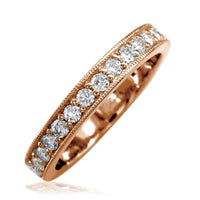 Diamond Wedding Band with Millgrain Edge, 0.58CT in 14k Pink Gold