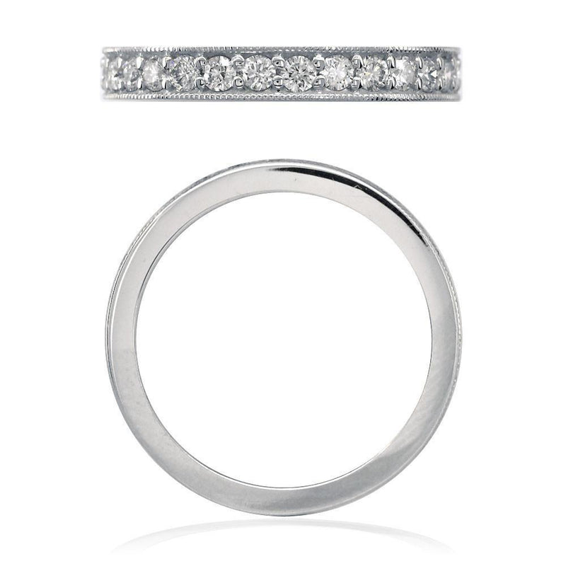 Diamond Wedding Band with Millgrain Edge, 0.58CT in 14k White Gold