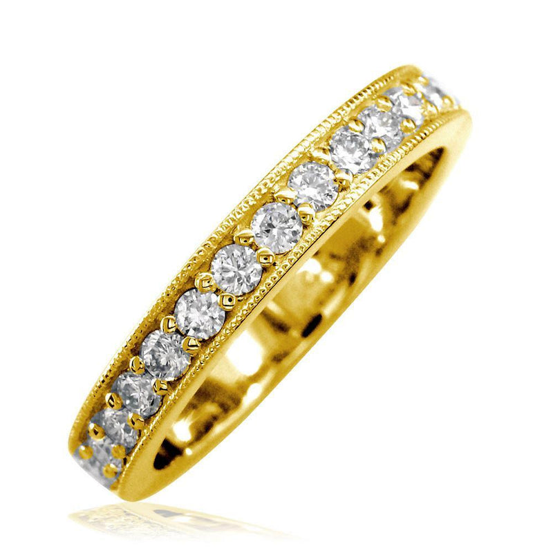 Diamond Wedding Band with Millgrain Edge, 0.58CT in 18k Yellow Gold