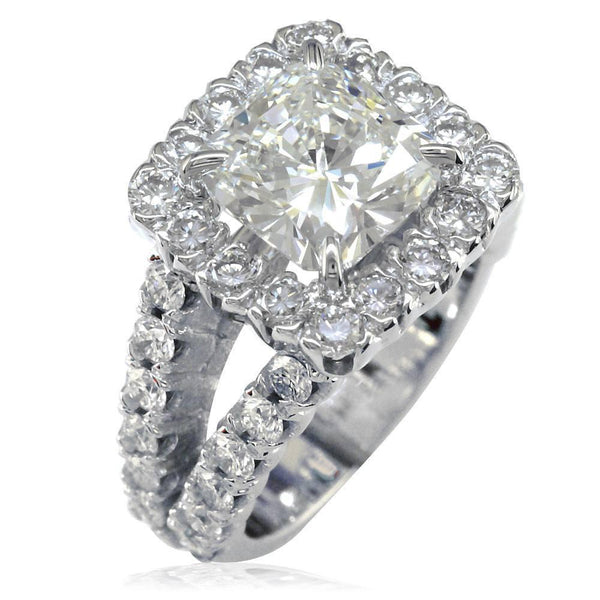 Diamond Halo Engagement Ring Setting in 18K White Gold, 2.10CT