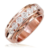 Mens Diamond Band, 1.77CT in 18k Pink Gold