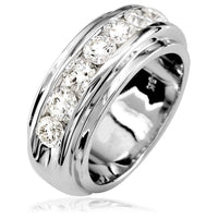Mens Diamond Band, 1.77CT in 14k White Gold