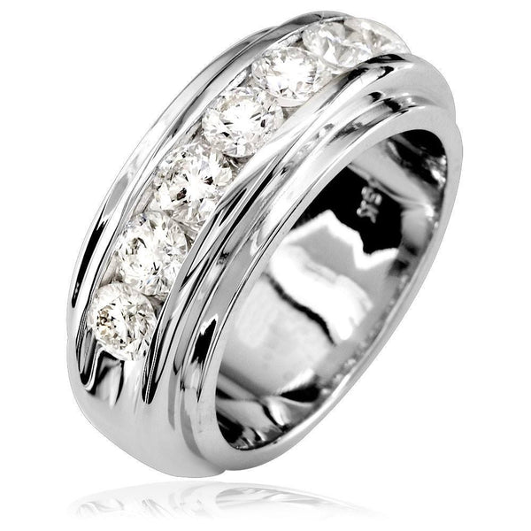 Mens Diamond Band, 1.77CT in 18k White Gold