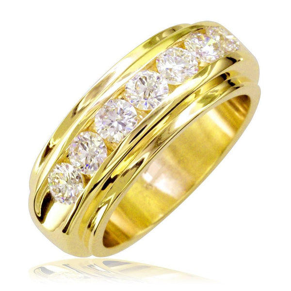 Mens Diamond Band, 1.77CT in 14k Yellow Gold