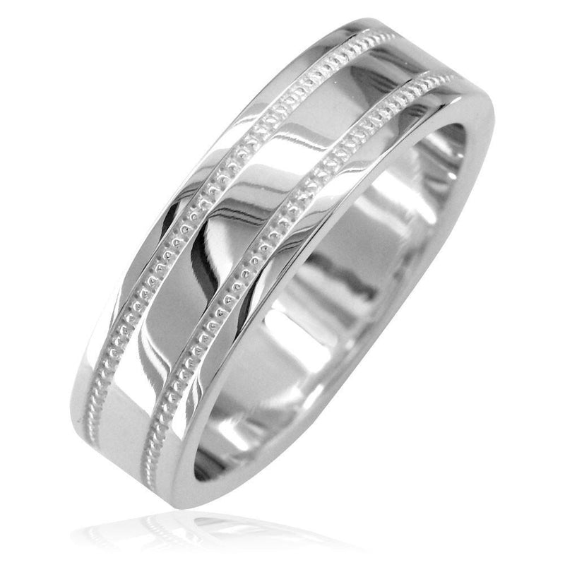 Mens Flat Wedding Band with Bead Detail, 6mm in 14k White Gold