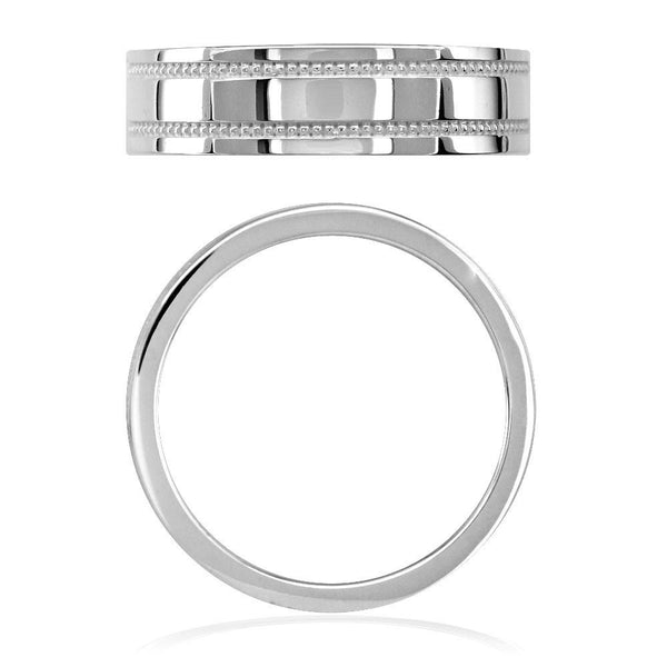 Mens Flat Wedding Band with Bead Detail, 6mm in Sterling Silver