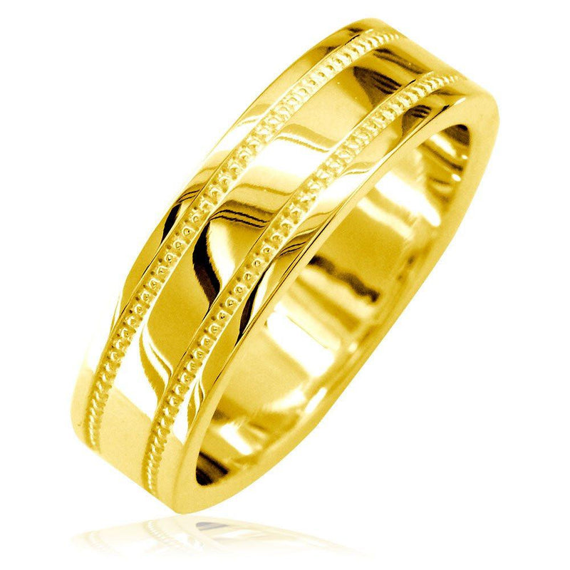 Mens Flat Wedding Band with Bead Detail, 6mm in 18k Yellow Gold