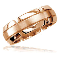 Virtu Mens 8mm Band in 14K Pink Gold, Satin Middle, Polished and Notched Sides