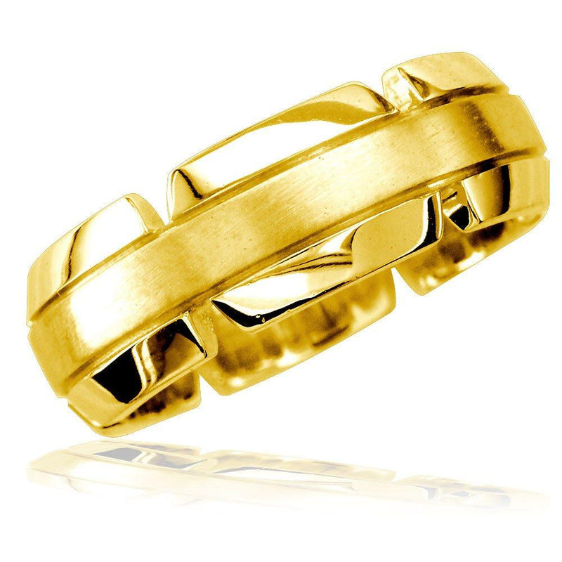 Virtu Mens 8mm Band in 14K Yellow Gold, Satin Middle, Polished and Notched Sides