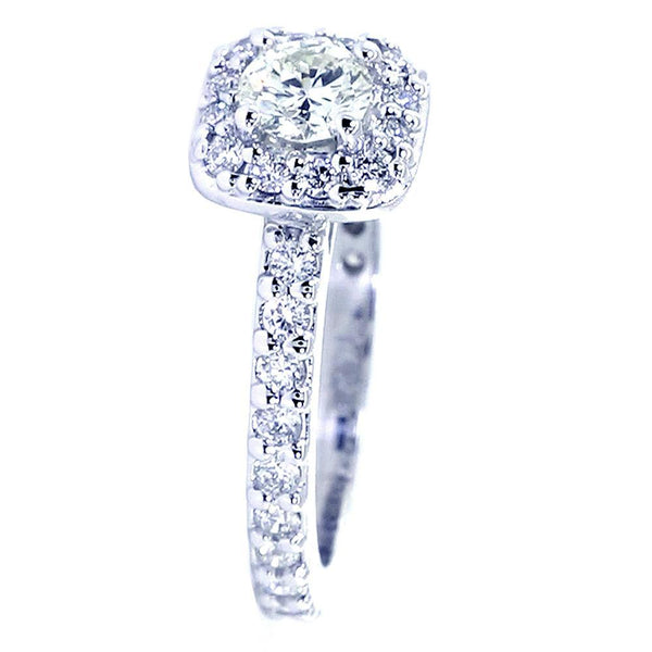 Halo Engagement Ring Setting for a Round Diamond, 0.50CT Total Sides in 14k White Gold