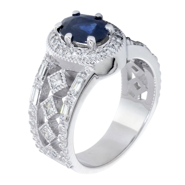 Vintage Style Oval Blue Sapphire and Diamond Halo Engagement Ring Setting, 0.82CT Diamonds in 14k White Gold