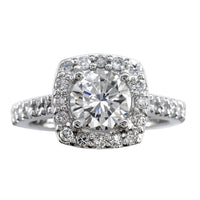 Diamond Halo Engagement Ring Setting in 14k White Gold