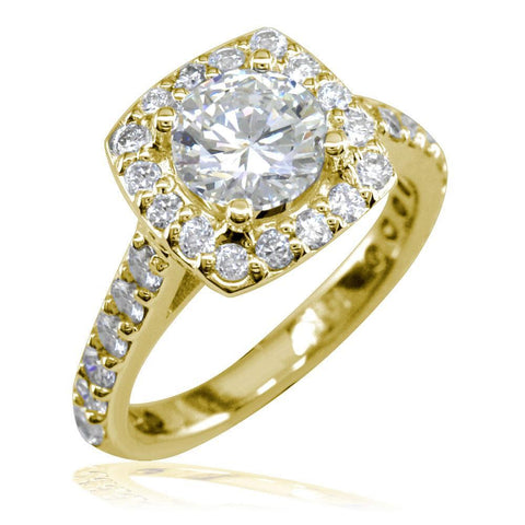 Diamond Halo Engagement Ring Setting in 14k Yellow Gold