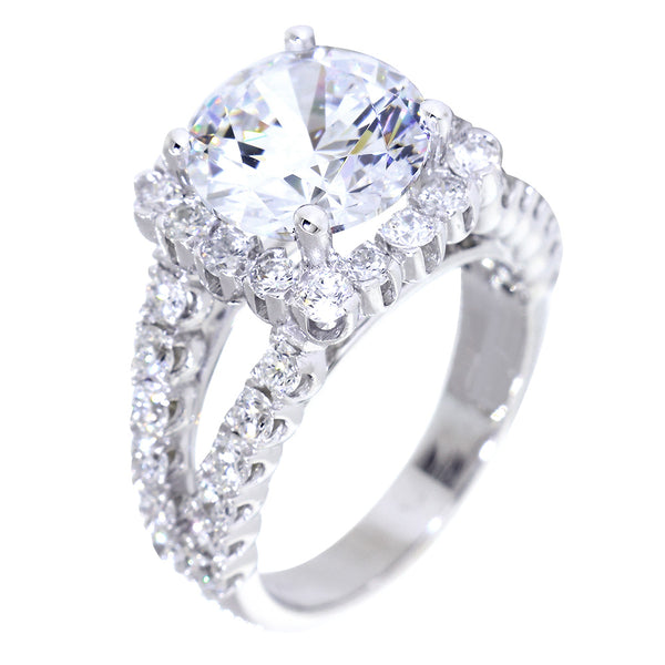 Split Band Halo Engagement Ring Setting for a 3CT Round Diamond, 1.50CT Total Sides in 14k White Gold