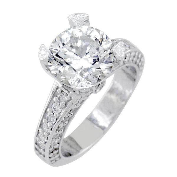 Round Diamond Engagement Ring, 2.50CT Center, 1.01CT Total Sides in 14k White Gold