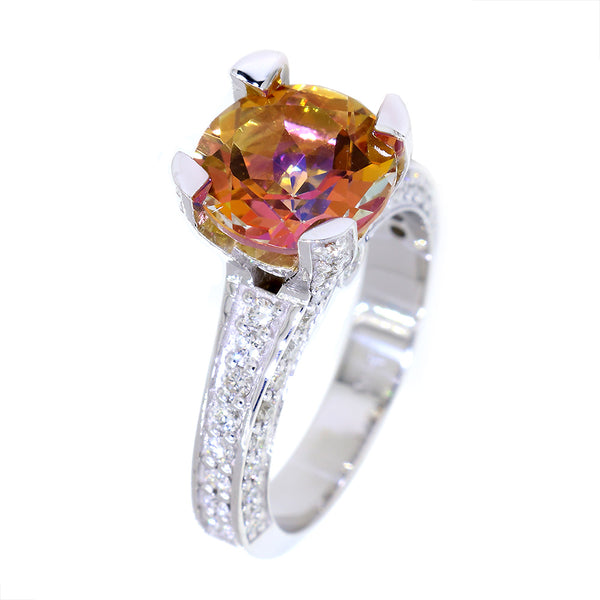 Round Anastasia Topaz and Diamond Ring, 4.22CT Center, 0.97CT Total Sides in 14k White Gold