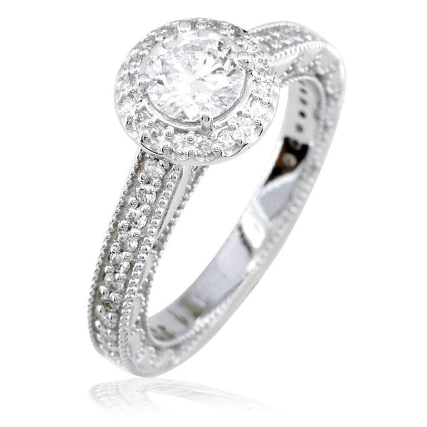 Round Diamond Halo Engagement Ring Setting in 14K White Gold, 0.50CT Sides