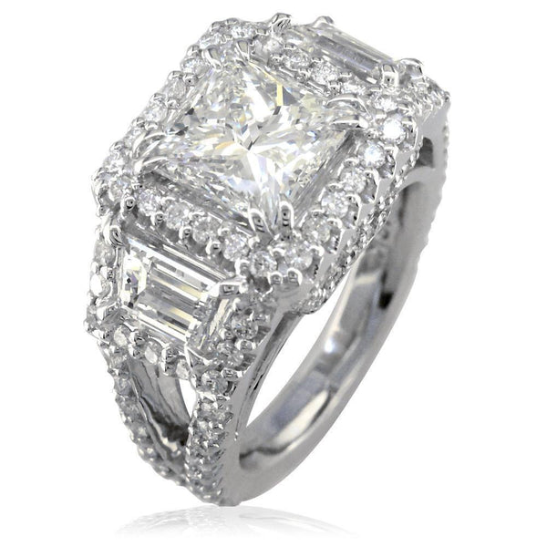 Princess Cut and Trapezoid Diamond Halo Engagement Ring Setting in 14K White Gold