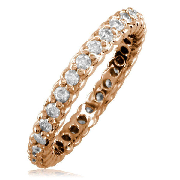 Diamond Eternity Wedding Band with Rope Design, 0.60CT in 14k Pink Gold