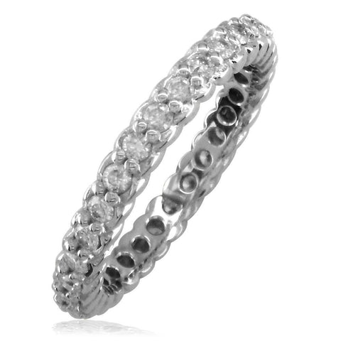 Diamond Eternity Wedding Band with Rope Design, 0.60CT in 14k White Gold