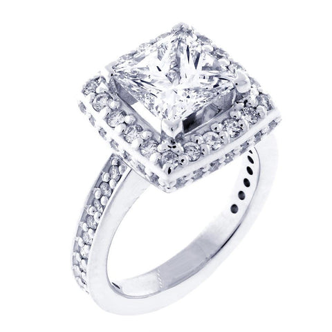 Halo Engagement Ring Setting for a Princess Cut Diamond, 0.86CT Sides in 14k White Gold