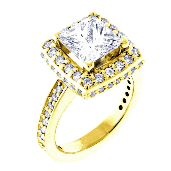 Halo Engagement Ring Setting for a Princess Cut Diamond, 0.86CT Sides in 14k Yellow Gold