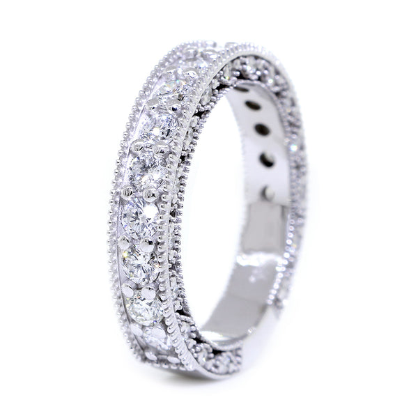 Vintage Style Diamond Wedding Band Set Almost Eternity, 1.25CT in 14K White Gold