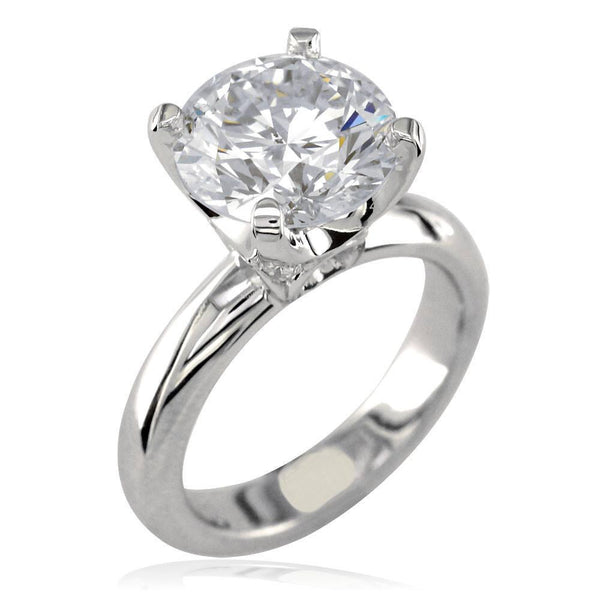 Round Diamond Engagement Ring Setting, 0.10CT Total Sides in 18K White Gold