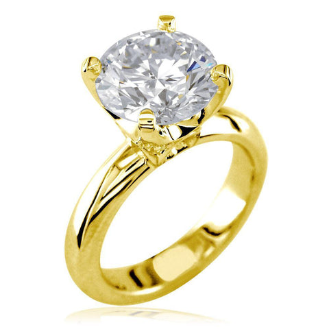 Round Diamond Engagement Ring Setting, 0.10CT Total Sides in 14K Yellow Gold