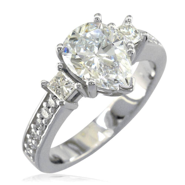 Pear Shape Diamond Engagement Ring Setting, 0.60CT Total Sides in 14K White Gold
