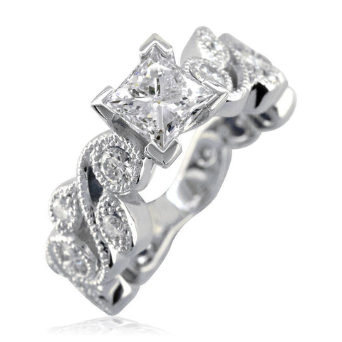 Princess Cut Diamond Engagement Ring Setting, 1.00CT Sides in 18K White Gold