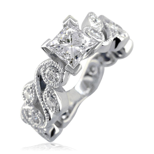 Princess Cut Diamond Engagement Ring Setting, 1.00CT Sides in 14K White Gold