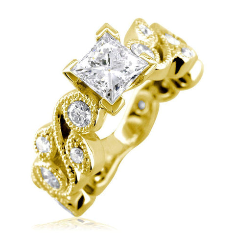 Princess Cut Diamond Engagement Ring Setting, 1.00CT Sides in 18K Yellow Gold