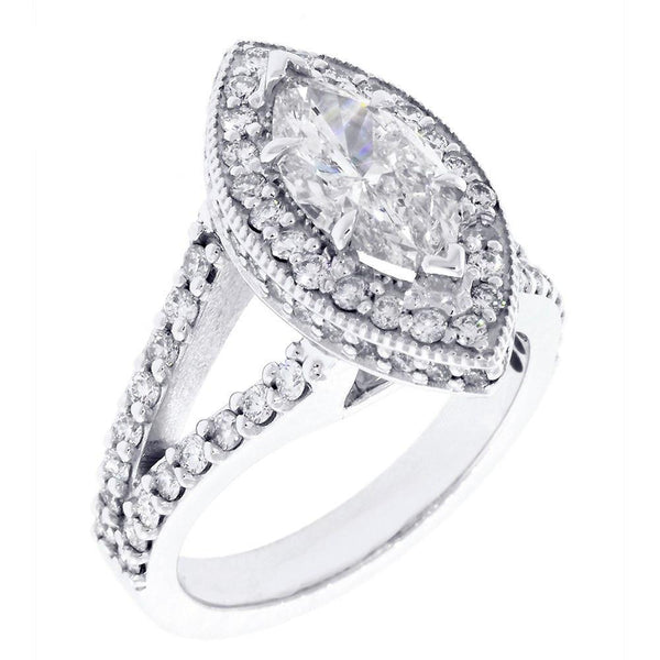 Halo Engagement Ring Setting for a Marquise Shape Diamond, 1.15CT Sides in 14k White Gold