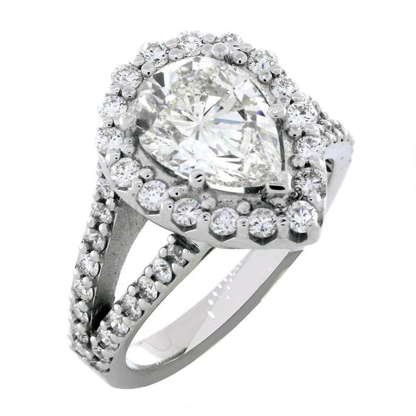 Halo Engagement Ring Setting for a Pear Shape Diamond, 1.05CT in 14k White Gold