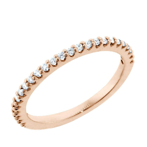 Thin Diamond Wedding Band, 0.25CT Total  in 14k Pink, Rose Gold