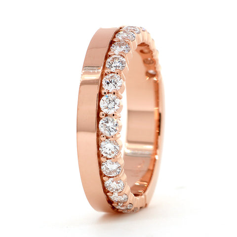 Diamond Band and Plain Band Ring, 0.95CT in 14K Pink, Rose Gold