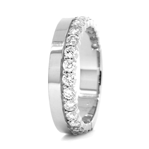Diamond Band and Plain Band Ring, 0.95CT in 14K White Gold