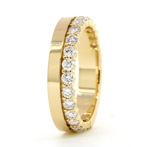 Diamond Band and Plain Band Ring, 0.95CT in 14K Yellow Gold