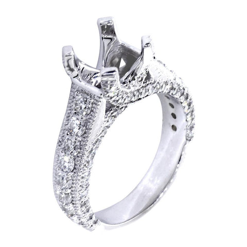 Vintage Style Engagement Ring Setting, 1.60CT Sides in 14k White Gold
