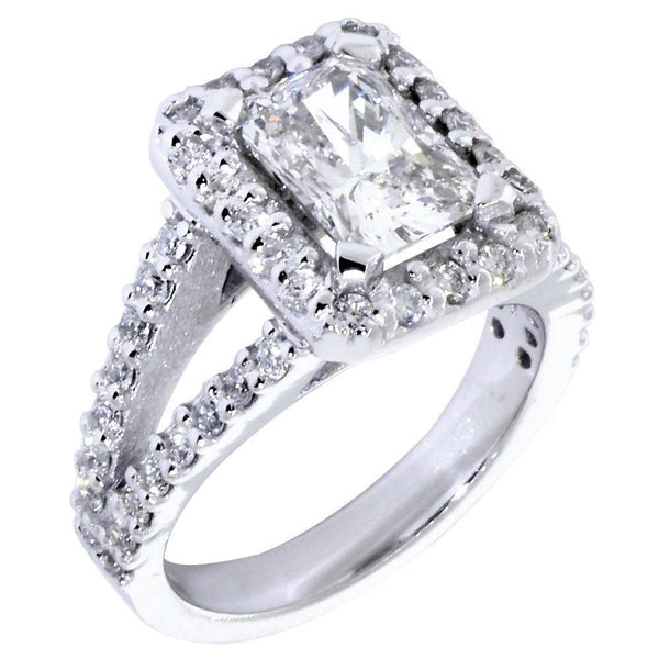 Halo Engagement Ring Setting for a Radiant or Emerald Cut Diamond, 1.0CT Sides in 14k White Gold