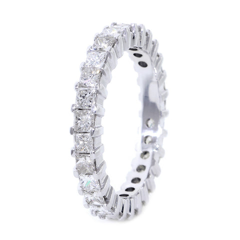 Princess Cut Diamond Eternity Band, 2.52CT in 14K White Gold