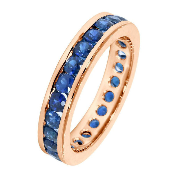 Round Sapphires Eternity Wedding Band, 1.8CT Total in 14k Pink, Rose Gold