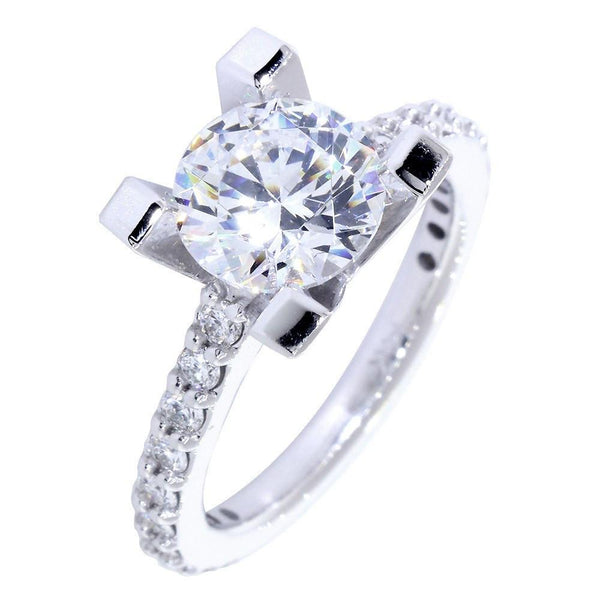 Engagement Ring Setting for a Round Diamond, 0.60CT Sides in 18k White Gold