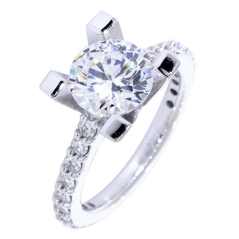 Engagement Ring Setting for a Round Diamond, 0.60CT Sides in 14k White Gold