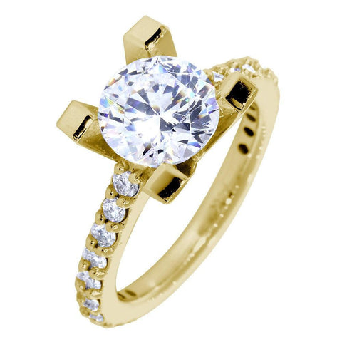 Engagement Ring Setting for a Round Diamond, 0.60CT Sides in 14k Yellow Gold