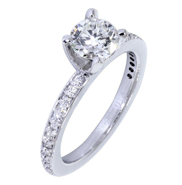 Engagement Ring Setting for a Round Diamond, 0.18CT Sides in 14k White Gold