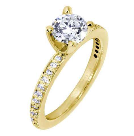 Engagement Ring Setting for a Round Diamond, 0.18CT Sides in 18k Yellow Gold